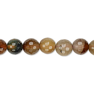 bead, brown agate (dyed), 7-8mm faceted round, b- grade, mohs hardness 6-1/2 to 7. sold per 15-inch strand.