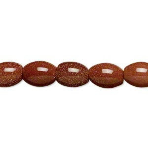 bead, brown goldstone (man-made), 10x8mm oval. sold per 16-inch strand.