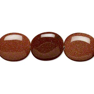 bead, brown goldstone (man-made), 16x14mm flat oval. sold per 16-inch strand.