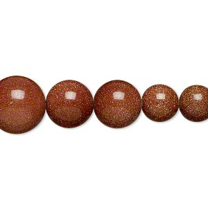 bead, brown goldstone (man-made), 4-12mm graduated round. sold per 18-inch strand.