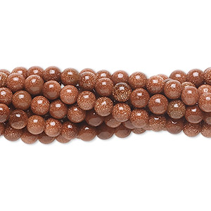 bead, brown goldstone (man-made), 4mm round. sold per pkg of (10) 16-inch strands.