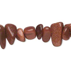bead, brown goldstone (man-made), large chip. sold per 15-inch strand.