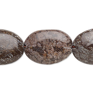 bead, brown snowflake jasper (natural), 24x18mm-25x19mm puffed oval, b grade, mohs hardness 6-1/2 to 7. sold per 15-inch strand.