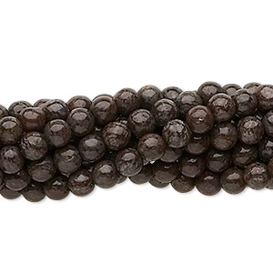 bead, brown snowflake jasper (natural), 4mm round, c grade, mohs hardness 6-1/2 to 7. sold per pkg of (10) 16-inch strands.