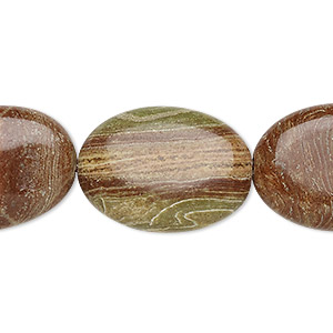 bead, brown striped jasper (natural), 25x18mm-25x19mm puffed oval, b grade, mohs hardness 6-1/2 to 7. sold per 15-inch strand.