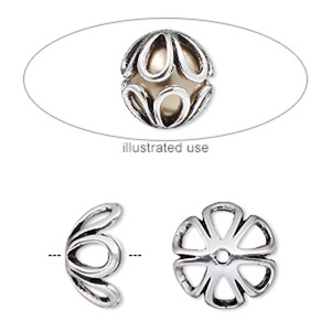 bead cage, antique silver-plated pewter (zinc-based alloy), 14mm round with teardrop cutout design, fits up to 10mm bead. sold per 2-piece set.