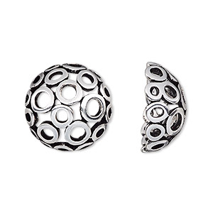 bead cage, antique silver-plated pewter (zinc-based alloy), 18mm round with circle cutout design, fits up to 14mm bead. sold per 2-piece set.