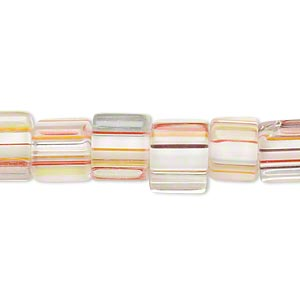 bead, cane glass, clear and multicolored, 8x8mm-12x10mm square tube with stripes. sold per 15-inch strand.