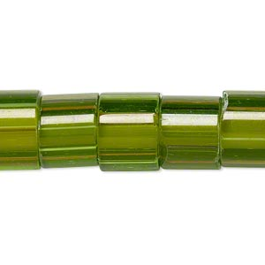 bead, cane glass, multicolored, 10x9mm-14x11mm round tube with stripes. sold per 15-inch strand.