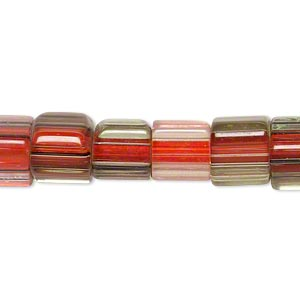 bead, cane glass, multicolored, 8x8mm-12x12mm rounded square tube and triangle tube with stripes. sold per 15-inch strand.