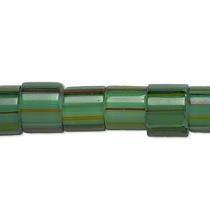bead, cane glass, multicolored, 9x8mm-12x9mm round tube with stripes. sold per 15-inch strand.