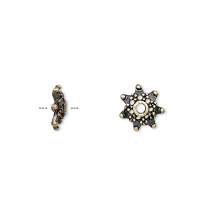 bead cap, antique brass-finished pewter (zinc-based alloy), 10x3mm snowflake, fits 8-12mm bead. sold per pkg of 24.