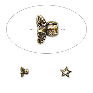 bead cap, antique brass-finished pewter (zinc-based alloy), 4.5x3mm star, fits 4-6mm bead. sold per pkg of 24.