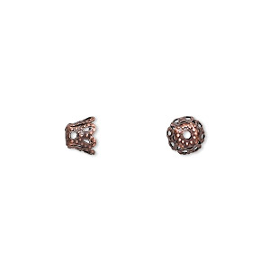 bead cap, antique copper-finished pewter (zinc-based alloy), 6x5mm fancy cone, fits 6-8mm bead. sold per pkg of 24.