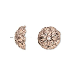 bead cap, antique copper-plated pewter (tin-based alloy), 13x6mm scalloped round with flower design, fits 10-12mm bead. sold per pkg of 4.