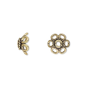 bead cap, antique gold-finished brass, 11x5mm flower, fits 10-12mm bead. sold per pkg of 12.