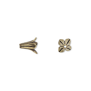 bead cap, antique gold-finished brass, 8x8mm 4-petal flower, fits 6-8mm bead. sold per pkg of 12.