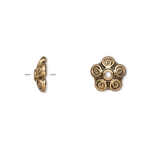 bead cap, antique gold-finished pewter (zinc-based alloy), 10x3mm filigree round, fits 10-12mm bead. sold per pkg of 10.