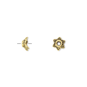 bead cap, antique gold-finished pewter (zinc-based alloy), 7x3mm star, for 6-8mm bead. sold per pkg of 500.