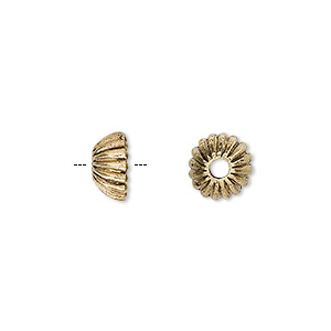 bead cap, antique gold-finished pewter (zinc-based alloy), 9x4mm ridged round, fits 6-8mm bead. sold per pkg of 24.