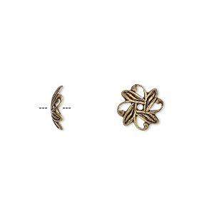 bead cap, antique gold-plated brass, 10x3mm fancy leaf with cutouts, fits 10-12mm bead. sold per pkg of 500.