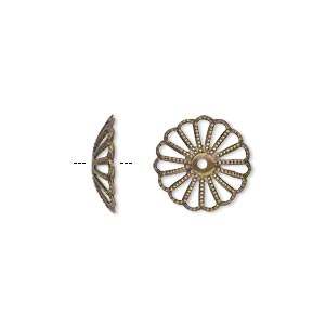 bead cap, antique gold-plated brass, 13x3mm fancy round with cutout pattern, fits 13-16mm bead. sold per pkg of 50.