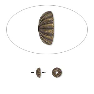 bead cap, antique gold-plated brass, 5x2mm ribbed round, fits 5-7mm bead. sold per pkg of 100.