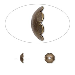 bead cap, antique gold-plated brass, 6x2mm scalloped round, fits 6-8mm bead. sold per pkg of 500.