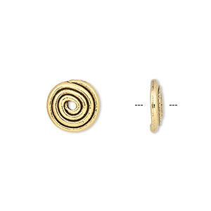 bead cap, antique gold-plated pewter (tin-based alloy), 11x2.5mm round coil, fits 8-12mm bead. sold per pkg of 10.