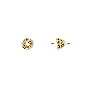 bead cap, antique gold-plated pewter (tin-based alloy), 5x4mm round with rope design, fits 3-4mm bead. sold per pkg of 10.