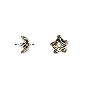 bead cap, antique gold-plated pewter (tin-based alloy), 8.5x3.5mm beaded star, fits 6-8mm bead. sold per pkg of 4.