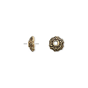 bead cap, antique gold-plated pewter (tin-based alloy), 8x3mm round, fits 6-8mm bead. sold per pkg of 10.