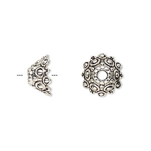 bead cap, antique silver-finished pewter (zinc-based alloy), 12x7mm round with dots and scalloped edges, 3mm hole, fits 10-14mm bead. sold per pkg of 20.