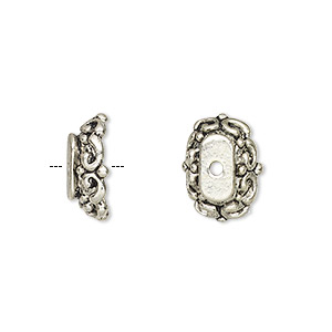 bead cap, antique silver-finished pewter (zinc-based alloy), 14x10x4mm oval, fits 18x13mm-22x18mm bead. sold per pkg of 6.