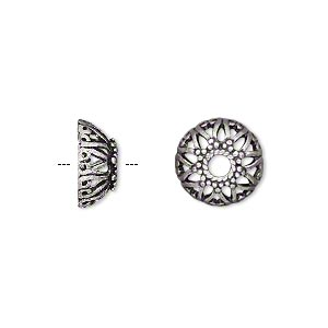 bead cap, antique silver-plated brass, 12x5mm open star, fits 10-14mm bead. sold per pkg of 10.