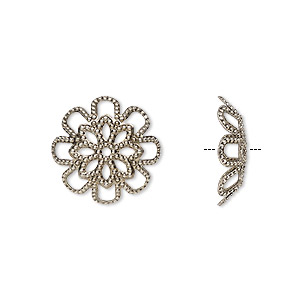 bead cap, antique silver-plated brass, 17x4.5mm flower with cutout design, fits 20-24mm bead. sold per pkg of 20.