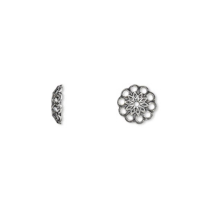 bead cap, antique silver-plated brass, 8x2mm fancy round with cutouts, fits 8-10mm bead. sold per pkg of 100.