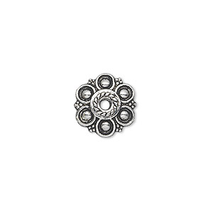 bead cap, antique silver-plated pewter (zinc-based alloy), 13x3mm flower, fits 18-20mm bead. sold per pkg of 20.