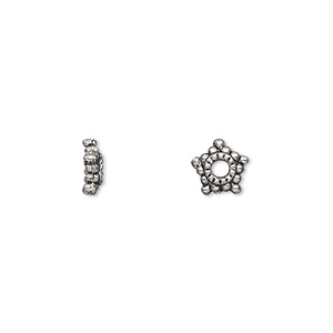 bead cap, antique silver-plated pewter (zinc-based alloy), 8x2mm star, fits 6-12mm bead. sold per pkg of 100.