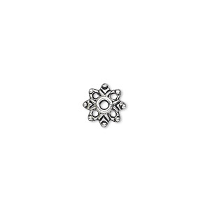 bead cap, antique silver-plated pewter (zinc-based alloy), 9x3mm flower, fits 6-14mm bead. sold per pkg of 100.