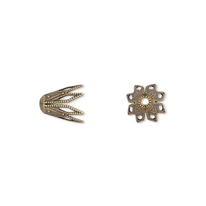 bead cap, antiqued brass, 9x8mm fancy star, fits 8-10mm bead. sold per pkg of 50.
