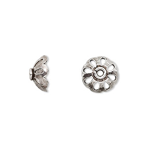 bead cap, antiqued sterling silver, 11x5mm round with cutout design, fits 10-12mm bead. sold per pkg of 8.