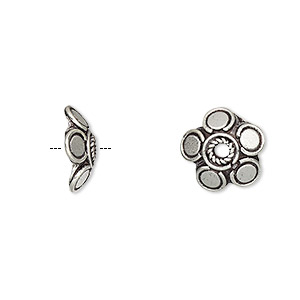 bead cap, antiqued sterling silver, 12x4mm flower, fits 10-12mm bead. sold per pkg of 6.
