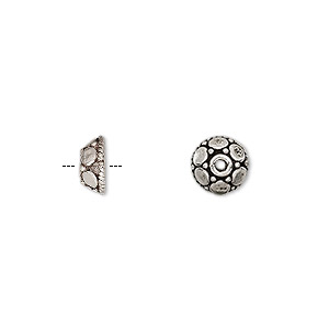 bead cap, antiqued sterling silver, 7x3.5mm round, fits 6-7mm bead. sold per pkg of 10.