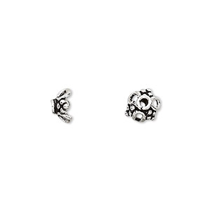 bead cap, antiqued sterling silver, 7x4mm open flower, fits 7-9mm bead. sold per pkg of 12.