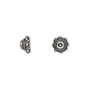 bead cap, antiqued sterling silver, 8.5x4.5mm beaded round with twist design, fits 8-10mm bead. sold per pkg of 8.
