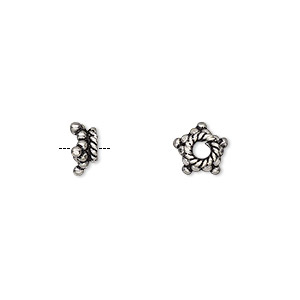 bead cap, antiqued sterling silver, 8x3.5mm star, fits 7-9mm bead. sold per pkg of 12.