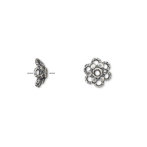 bead cap, antiqued sterling silver, 8x3mm rope flower, fits 7-9mm bead. sold per pkg of 2.