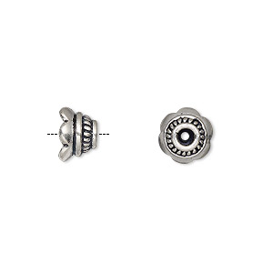 bead cap, antiqued sterling silver, 8x5.5mm round, fits 8-10mm bead. sold per pkg of 6.