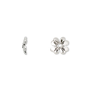 bead cap, antiqued sterling silver, 9x2mm 4-leaf clover, fits 10-12mm bead. sold per pkg of 2.